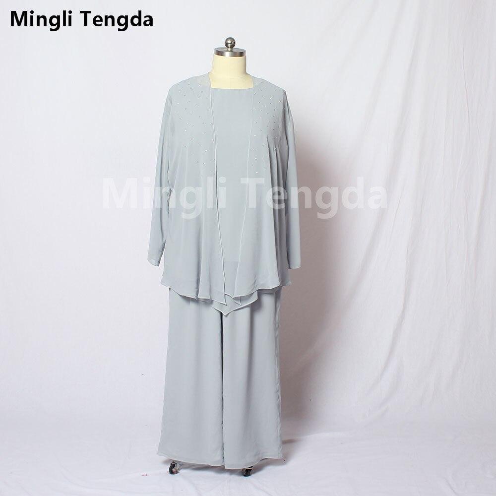 Mingli Tengda Simple mousseline de soie mère de la mariée robes avec manches longues veste étage-longueur Foemal fête mère robes 2018