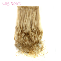 MISS WIG 24Inchs 16 Colors Available Clip In Hair Extensions 5 Clips Hairpiece Curly Extension Synthetic