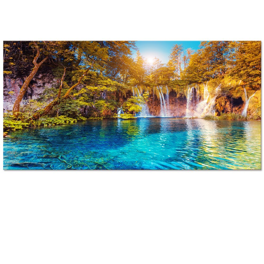 Visual Art Decor Waterfall Picture Canvas Wall Art Blue Crystal Lake in Forest Scenery Painting Prints for Living Room