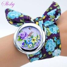 Shsby новый дизайн дамы цветок ткань наручные часы модная женская одежда часы Высокое качество ткани часы Сладкий Девочек часы-браслет