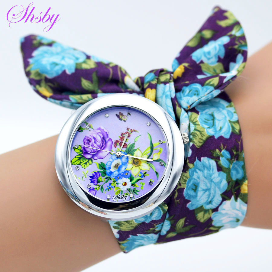 Shsby New Design Ladies Flower Cloth Wristwatch Fashion Women Dress Watch High Quality Fabric Clock Sweet Girls Bracelet Watch