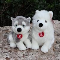 Lifelike Sitting Samoyed Husky Dog Plush Toys Soft Cute Dogs Puppy Stuffed Animal Toy Birthday Gift For Kids