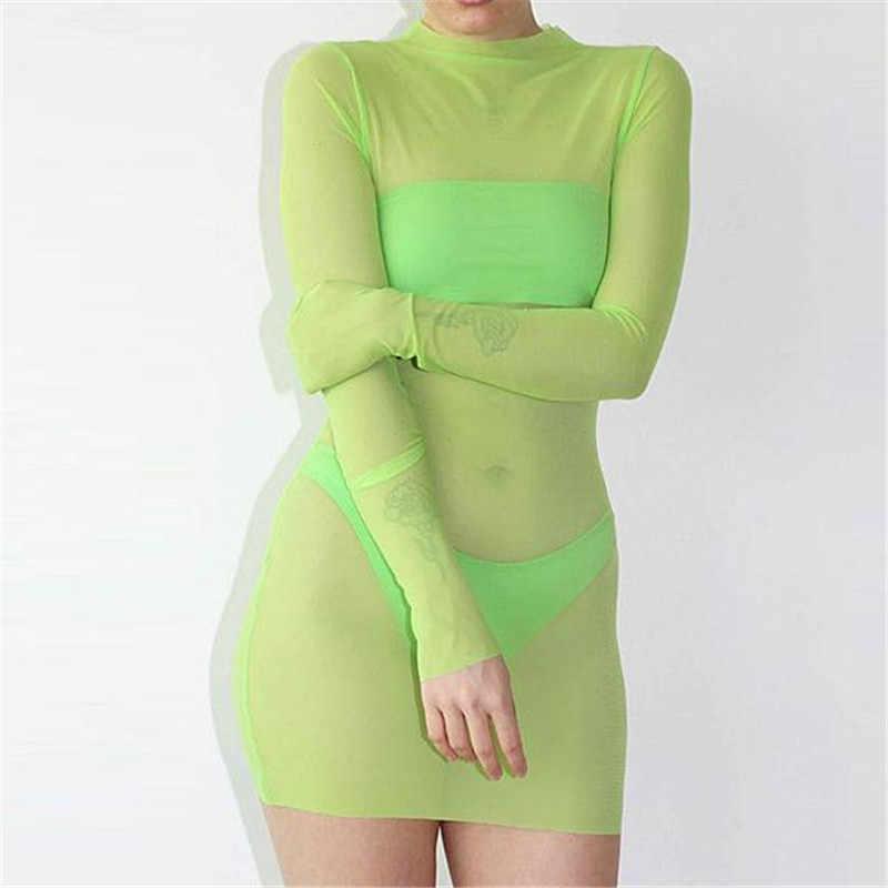 Neon Lime Green Mesh See Trough Fluorescent Groen Zwart Lange Mouw Mini Bodycon Jurk Sexy Set Vestidos Night Club Zonnejurk nieuwe