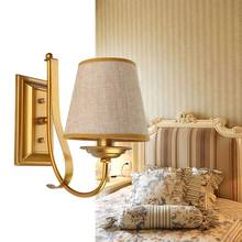 Modern Gold Wall Lights Hallway Bedroom Bedside Lamp Sconce White/Black Iron Fabric Lampshade Indoor Decor E14 110-240V