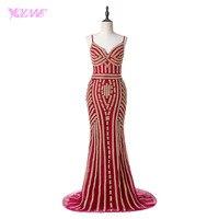 YQLNNE Lujo Larga Roja de La Sirena Vestidos de Baile Real Fotos Cristales Con Cuentas Partido Vestido de Noche Vestido de Festa
