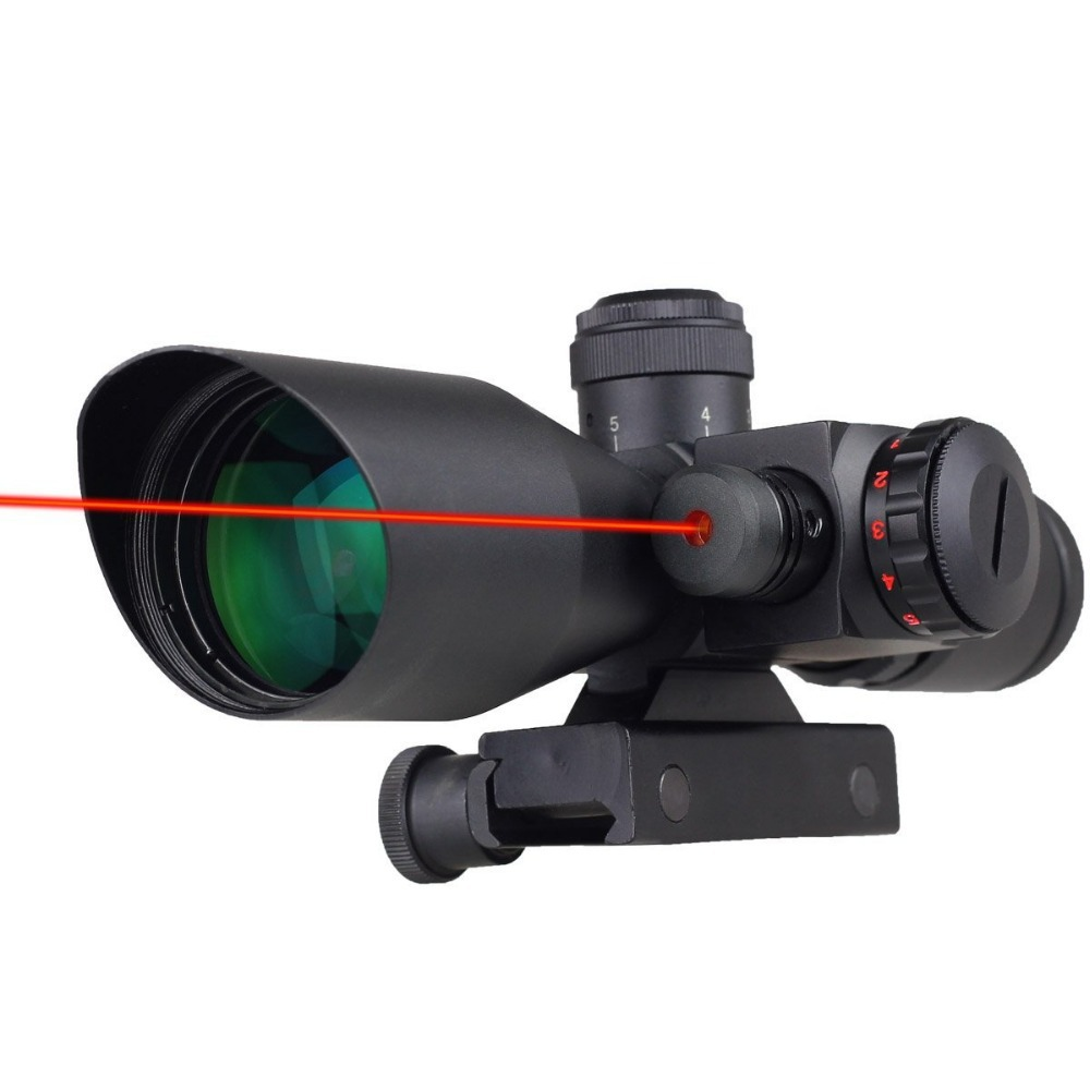 New Tactical Red Dot Laser hunting Sight 2.5-10X40mm Scope Reflex Red / Green Reticle Mount 3 10x42 red laser m9b tactical rifle scope red green mil dot reticle with side mounted red laser guaranteed 100%