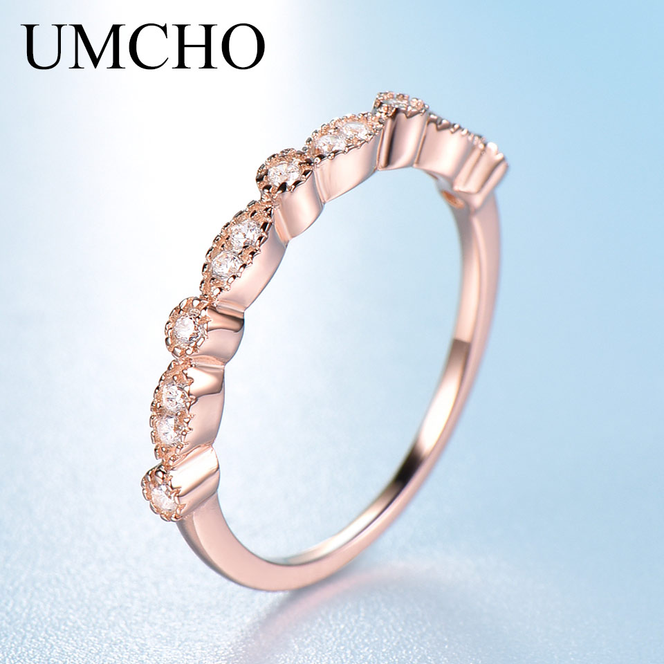 UMCHO 925 Sterling Silver Rings For Women Stacked Band Rose Color Pink Wedding Engagement Ring Minimalist Fine Jewelry Classic