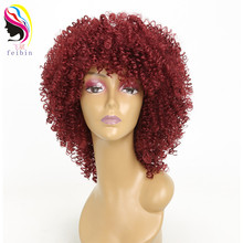 Feibin Kinky Curly Afro Wigs for Black Women Nature African Synthetic High temperature fiber 14inches