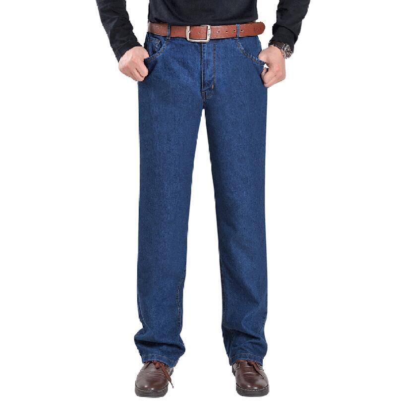 Middle aged font b Men b font font b Jeans b font Casual High waist Elastic