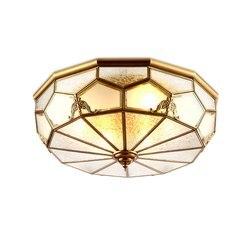 Europejski miedzi sypialnia lampy sufitowe klasyczne szklany klosz balkon ganek lampy sufitowe ręcznie lutowania lampa sufitowa