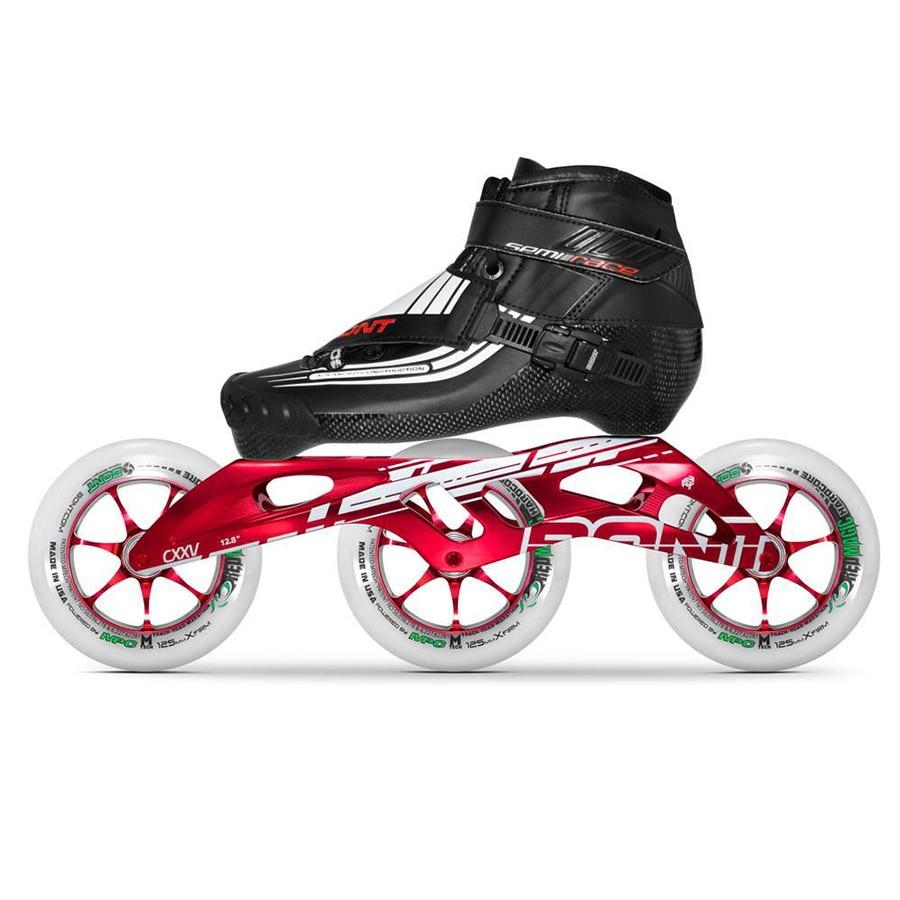 100% Original Bont SEMI course 2PT 195 MM CXXV vitesse patins à roues alignées thermomoulable en Fiber de carbone botte 3*125mm rouge roues magiques Patines