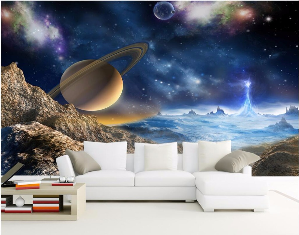 Custom mural 3d wallpaper universe stars planets in the for Custom mural painting