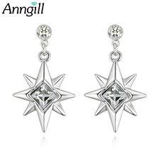 Женские сверкающие Восьмиугольные серьги капли anngill 100%