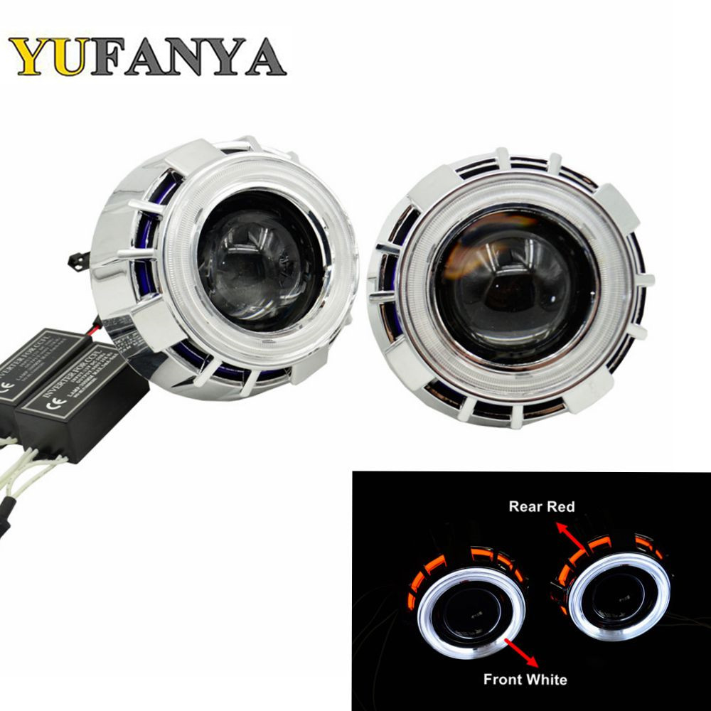 2pcs 2.8 inch hid bixenon projector lens with cob angel eyes shrouds hid xenon bulb and CCFL back angel eyes auto lamp lens