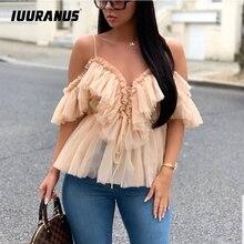 цена на IUURANUS Women Blouse Vintage Ruffle Summer Blouses Shirt Tops Off Shoulder Sexy Peplum Top Female Mesh Backless Blouse