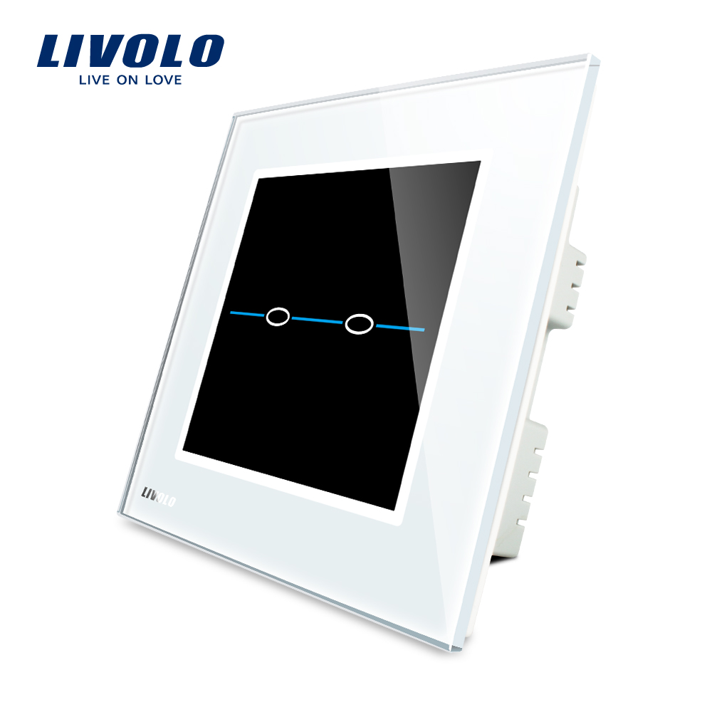 Livolo UK standard Touch Screen Home Wall Light Switch,2gang 1way ,AC 220~250V, White Crystal Glass Panel, VL-C302-31 smart home uk standard crystal glass panel 2 gang 2 way golden wall touch switch intelligent touch screen light touch switch led