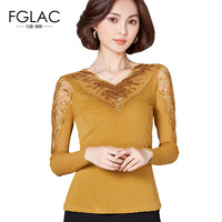 FGLAC Women Clothing New Arrivals 2017 Autumn Long Sleeved Mesh Tops Elegant Slim Hollow Out Lace