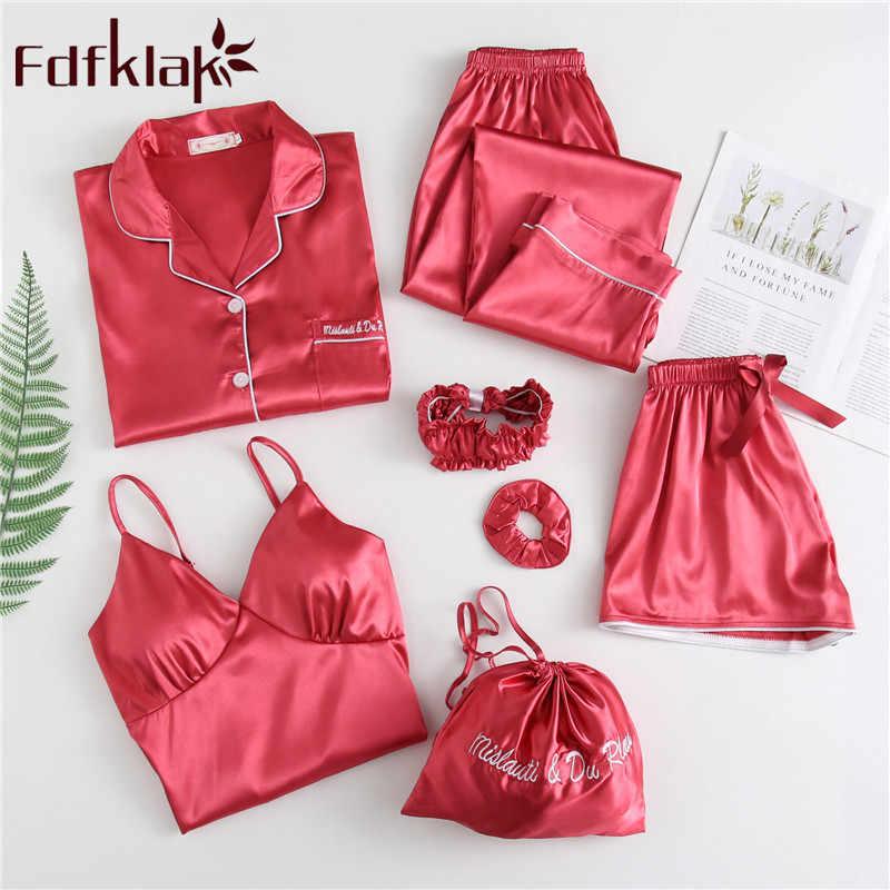 Primavera Verano nuevas 7 piezas Pijamas Mujer Pijama traje de noche Pijama de seda para mujer Lencería conjunto ropa de dormir ropa de casa Fdfklak