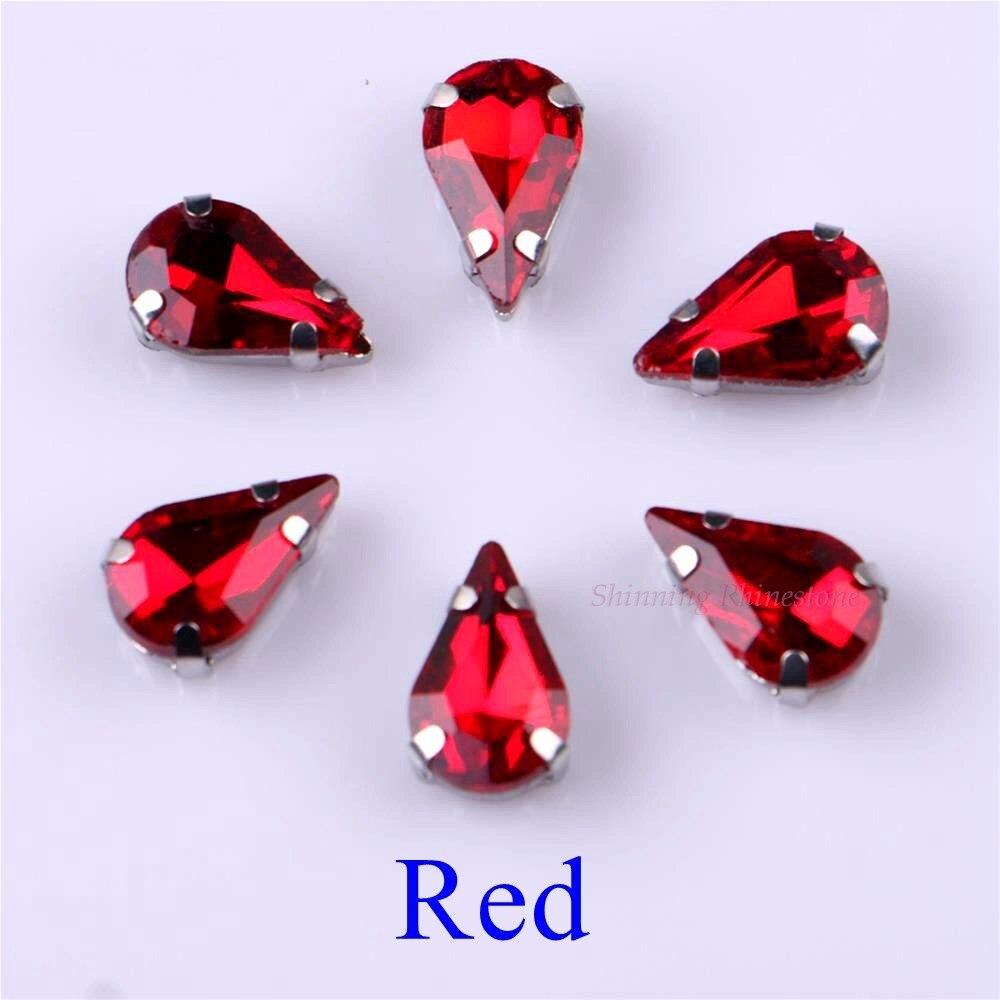 Узкий Каплевидная форма стеклянные стразы с когтями пришить с украшением в виде кристаллов Камень страз с алмазными металлическими Базовая Пряжка 20 шт./упак - Цвет: Red
