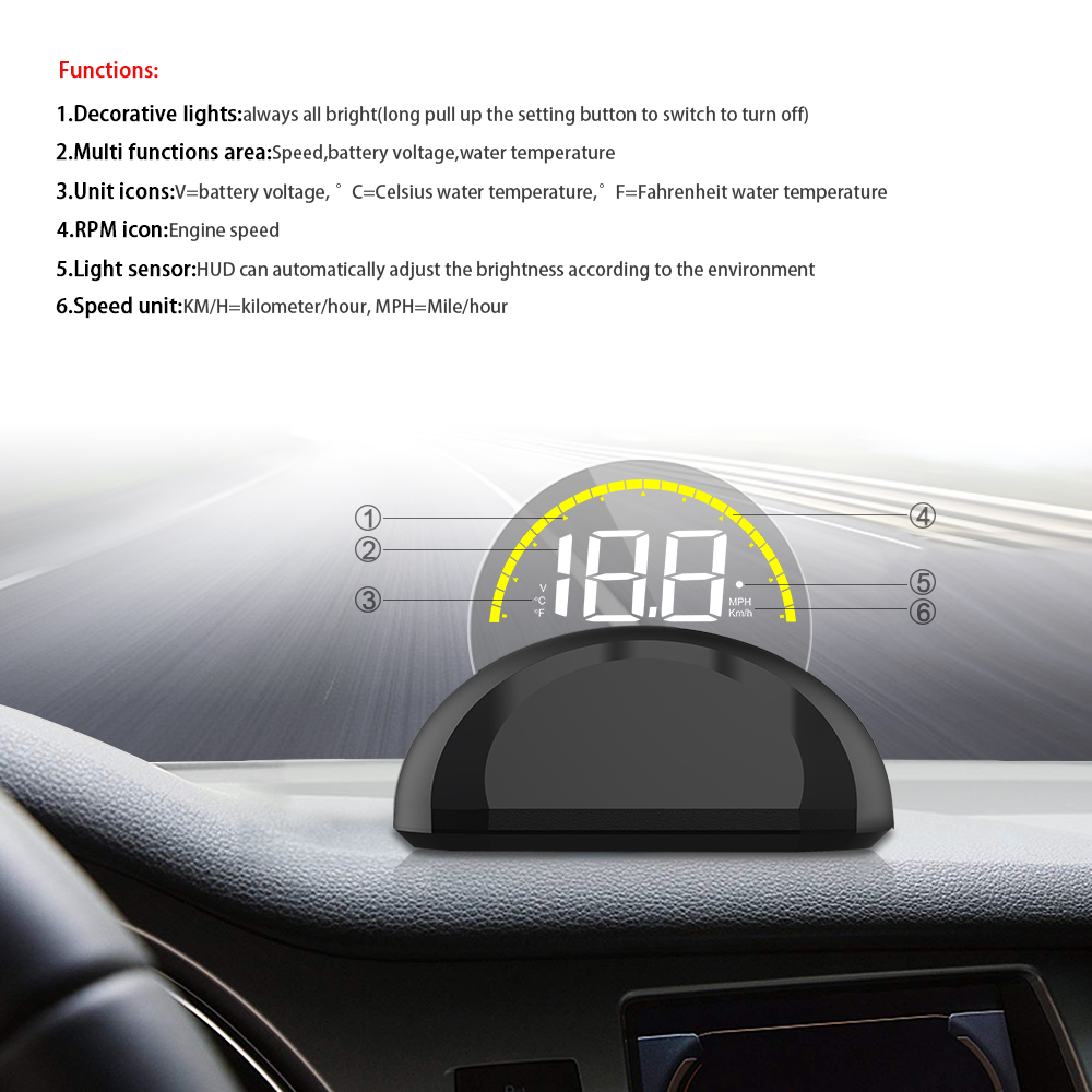 Image 2 - OBDHUD Car Head Up Display With  Round Mirror Digital Projection Car speedometer On Board Computer Fuel Mileage Temp New-in Head-up Display from Automobiles & Motorcycles
