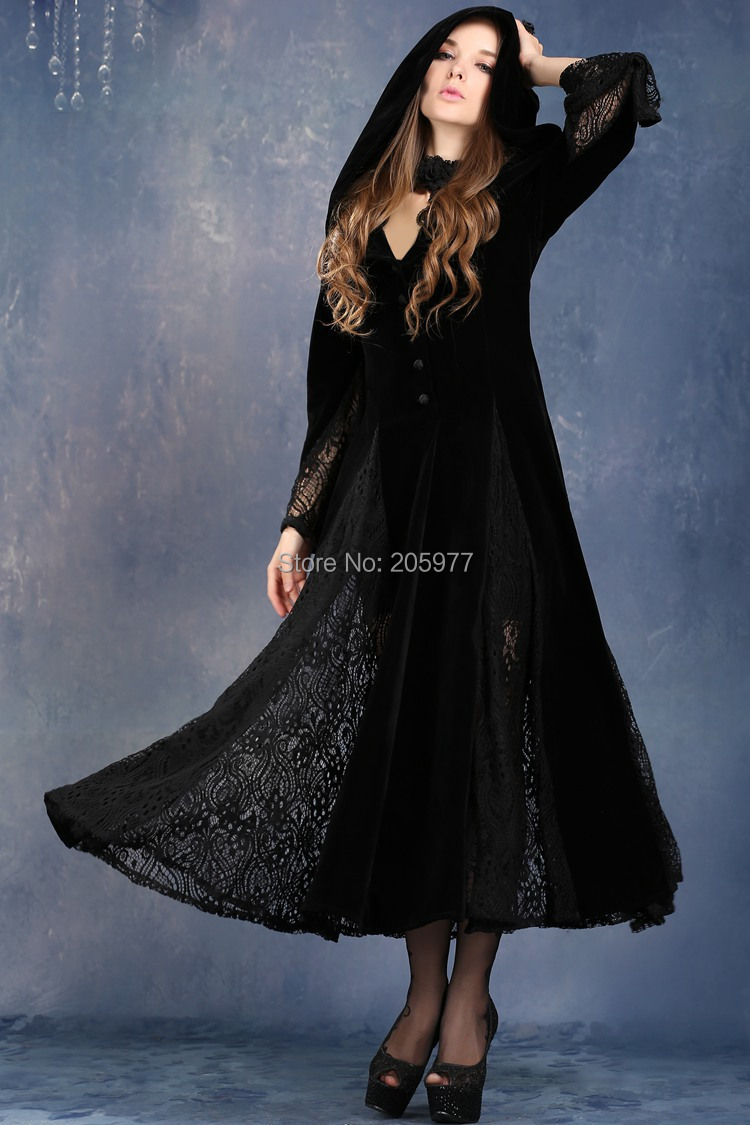 Black Long Sleeve Gothic Vampire gown Punk Scene long jacket coat ...