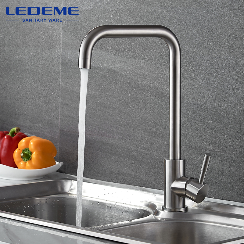 LEDEME 360 Single Handle Single Hole Kitchen Faucet Mixers Sink Tap Wall Kitchen Faucet Modern Hot and Cold Water L4998-4 swanstone dual mount composite 33x22x10 1 hole single bowl kitchen sink in tahiti ivory tahiti ivory