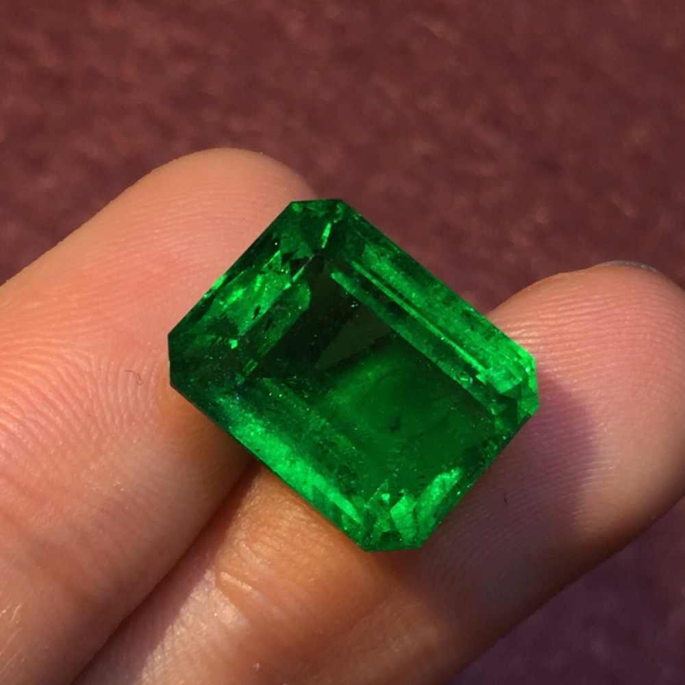 318 อัญมณี GRS Cert แซมเบีย 10.57ct Faceted Vivid สีเขียวมรกตธรรมชาติอัญมณีหลวมอัญมณีหลวมหินอัญมณี