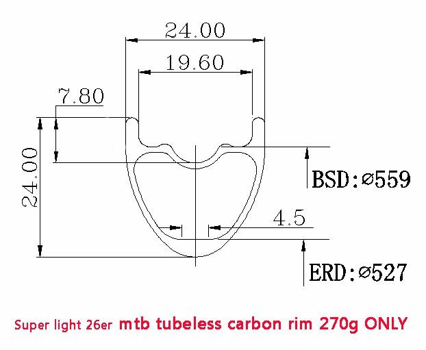 26er 24mm depth 24mm width carbon MTB rims