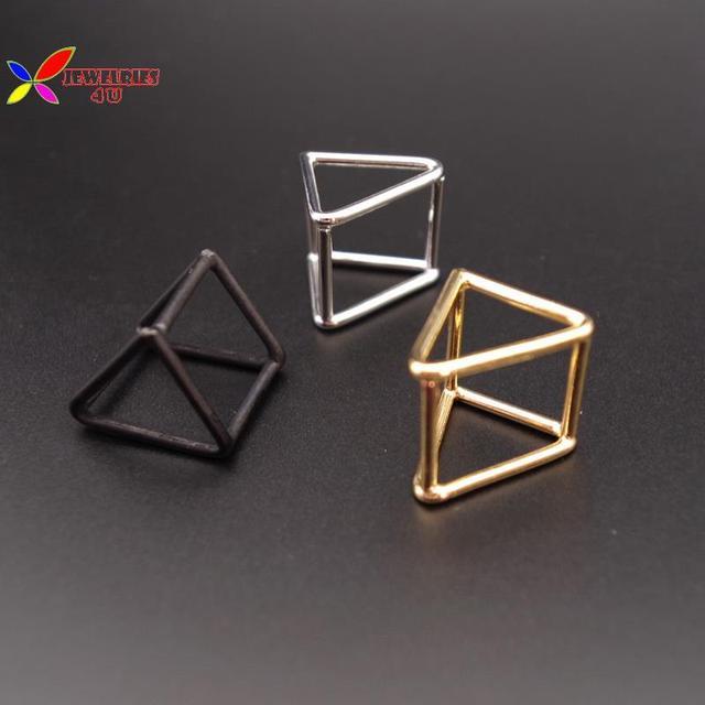 2015 рождественский подарок мода простота золотой серебряный черный медь открыть треугольник куб палец кольца для женщин bagués залить femmes
