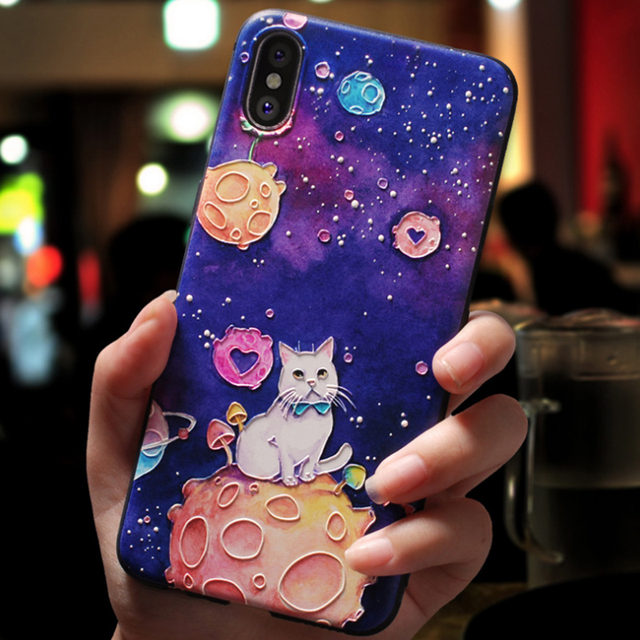 For iphone 10 5 5S SE Case FOR iphone XR XS Max X Soft Space FOR iphone 8Plus Case For iphone 7 8 6 6s Plus 3D Relief Silicone 3