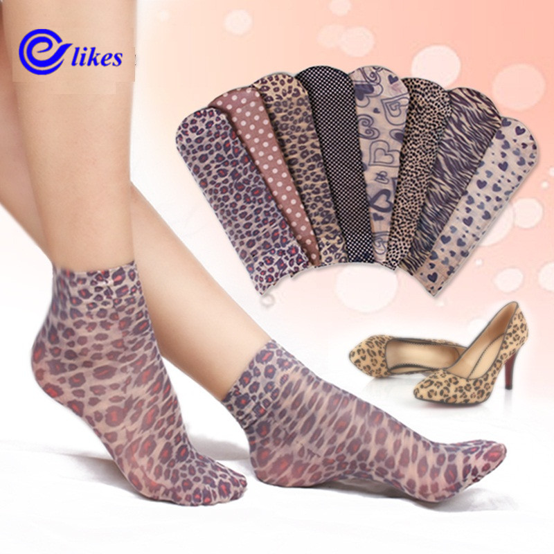 10 Pairs   Socks   2017 Fashion Women's   Socks   Crystal Thin Transparent Thin Silk   Socks   Women In Summer Sokken Vrouwen velvet leopard