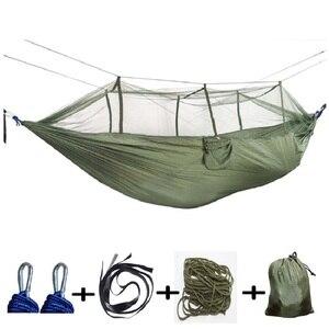 Image 3 - 屋外蚊帳パラシュートハンモック 1 2 人のキャンプぶら下げ睡眠ベッドスイングダブル椅子 Hamac アーミーグリーン