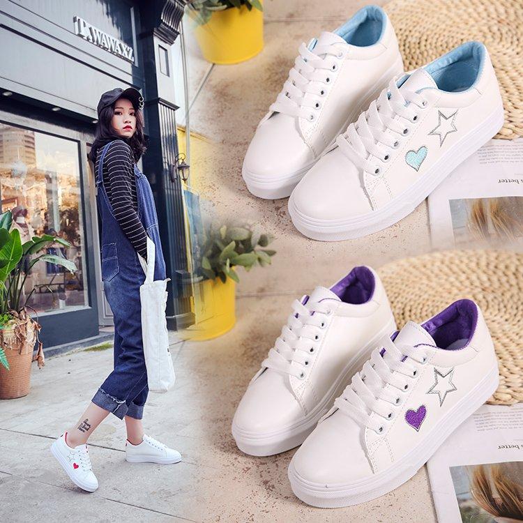Blanches De Étudiants Femmes Décontracté bleu Chaussures Sauvage Simples Plates rouge Noir Printemps 2018 Coréens Nouveau pourpre pqwaxqtn8