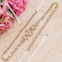 Yanstar Gold Rhinestones Belt Bridal Wedding Belt Handmade Crystal Belt For Wedding Decoration 35WB896