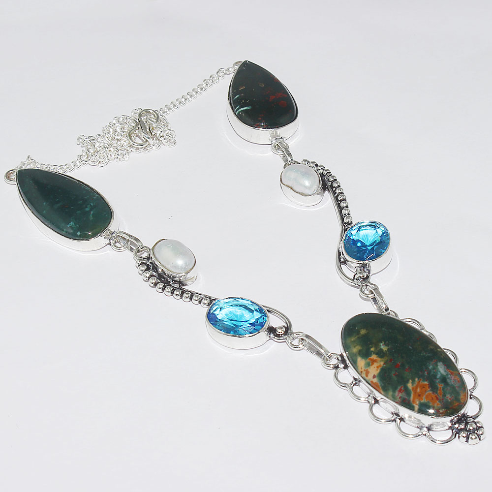 Blood Stone Blue Topas Necklace Silver Overlay over Copper 54cm N1067 in Pendant Necklaces from Jewelry Accessories