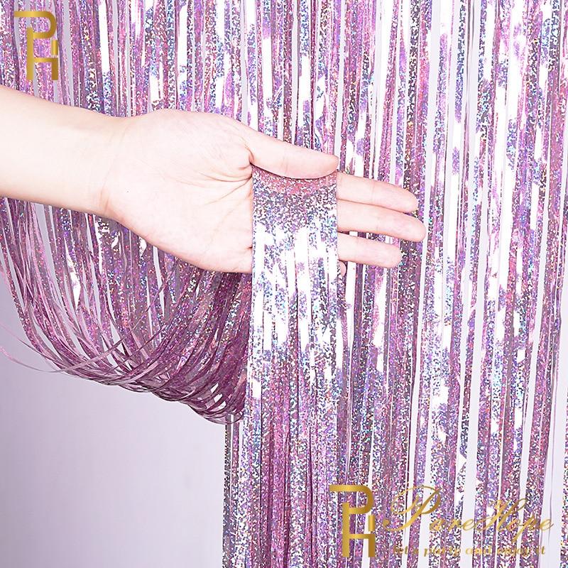 laser foil curtains --pink
