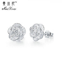 цена на cute jewelry delicate girl women ear stud tiny cz flower delicate 925 sterling silver small cz stud minimalist flower earring