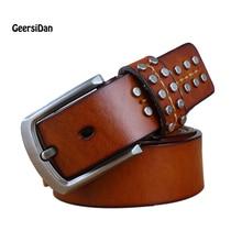 2017 Rivet belt men genuine leather luxury strap male belts for men buckle fancy vintage jeans cintos masculinos ceinture homme