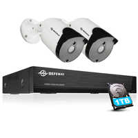 DEFEWAY Video Surveillance 4CH 5.0MP H.265+ Weatherpoof CCTV System DVR KIT Outdoor Home Security Camera 2PCS System 1TB HDD