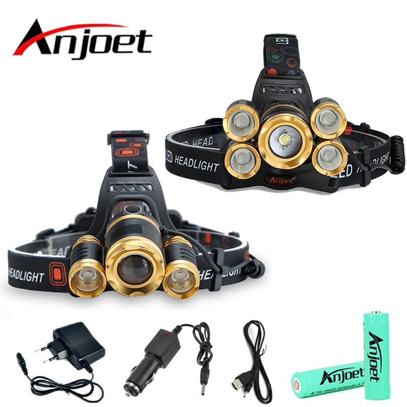 Anjoet 15000 lumens rechargeable 5 Led T6+Q5 headlamp Zoomable head flashlight  lamp waterproof Torch light camp vissen 18650
