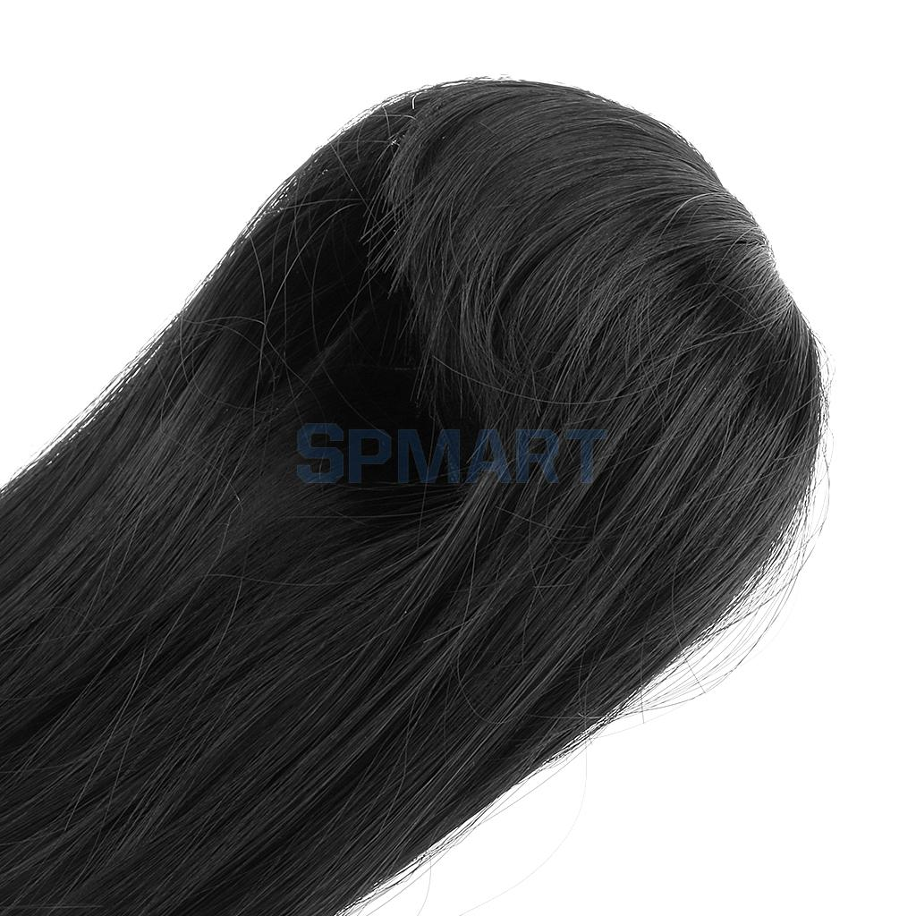 Black Long Straight Hair Wig Hairpiece for 1/6 BJD SD Dolls