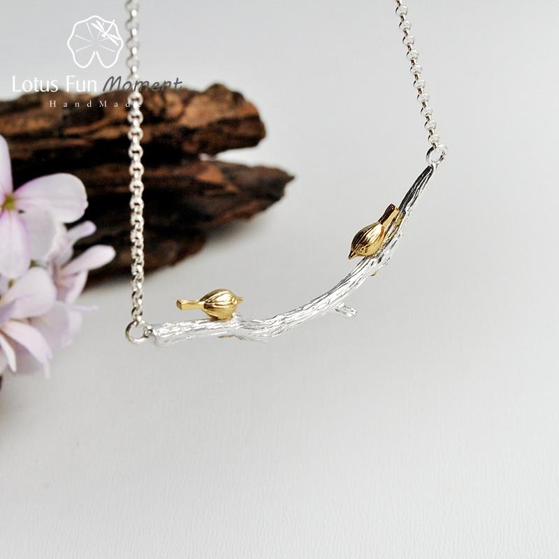 Lotus Fun Moment Réel 925 En Argent Sterling Naturel Original Fait À La Main Bijoux De Mode Oiseau sur La Branche Collier pour Les Femmes Bijoux
