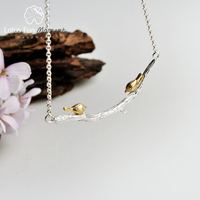 Lotus Fun Moment Real 925 Sterling Silver Natural Original Handmade Fashion Jewelry Bird on Branch Necklace for Women Bijoux