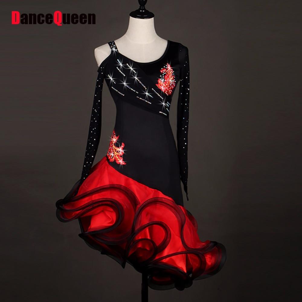 2018 Latin Dance Dresses For Ladies Black Red Skirts Ballroom Dancing Dress Vestido De Danca Roupas Femininas Women Tango Dress