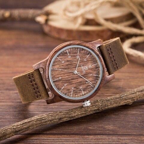 Moda de Nova Marca de Luxo Relógios de Pulso de Couro de Madeira Transporte da Gota ou de Madeira Homens Relógios Mulheres Relógio Cinta Masculino Top