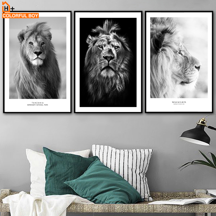 Us 3 21 49 offmodern lion wall art canvas painting nordic posters and prints black white decoration animal wall pictures for living room decor in