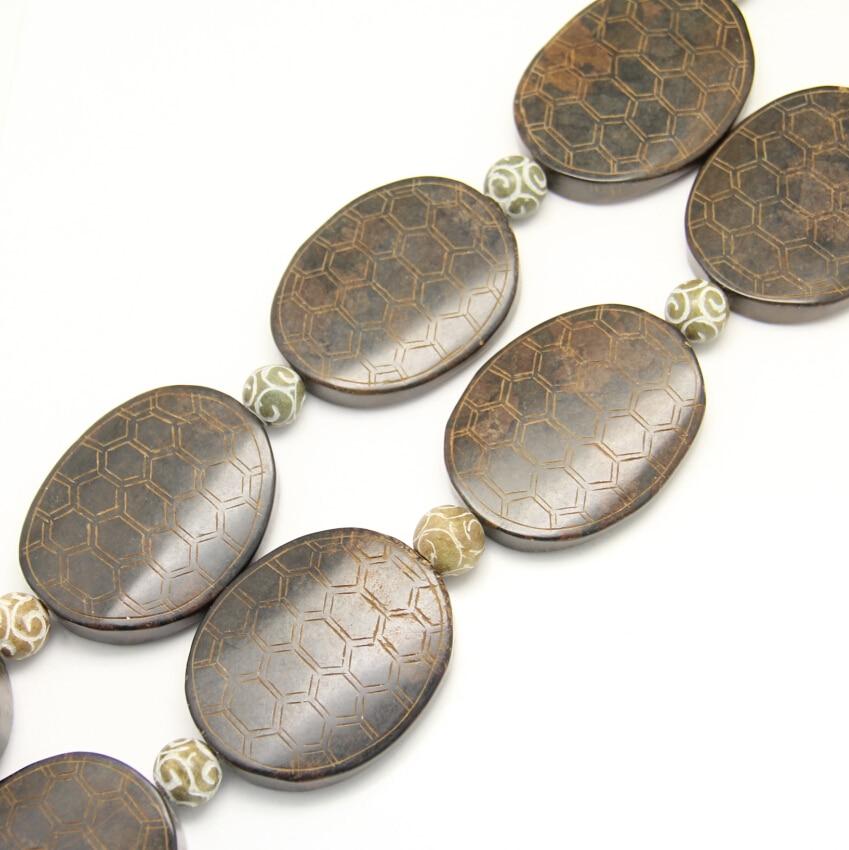 5pcs strand Big Oval Shoushan Stone Charms Jewelry,Drilled Carved Turtle shell Shape Shoushan Gems with Round Beads DIY Bracelet