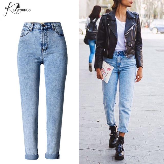 d3d6f43b3f Invierno de 2018 sólido blanqueada lavado mujer novio Jeans para mujer azul Denim  de cintura alta