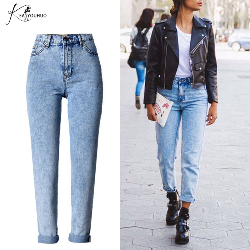 Zima 2018 Solid Wash Obuwie damskie Boyfriend Jeans dla kobiet Blue High Waist Denim Loose Ladies Skinny Jeans Woman Mom Jeans
