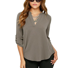 New Blusas Sexy Women V-neck Chiffon Blouse Casual Long Sleeve Solid Shirts Tops Plus Size 5XL feminina camisas 1WBL074